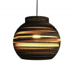 "Lampshade Pendant Collared Sphere 12"" Cardboard"