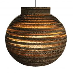 "Lampshade Pendant Collared Sphere 16"" Cardboard"