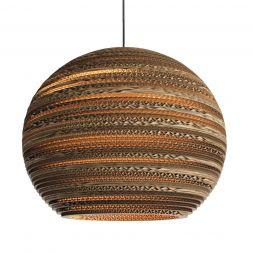 "Cardboard 16"" sphere pendant lampshade Lit"