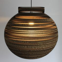 "Lampshade Pendant Collared Sphere 20"" Cardboard"